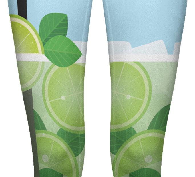 Elastyczne damskie legginsy z wysokim pasem Orzeźwiające Mojito