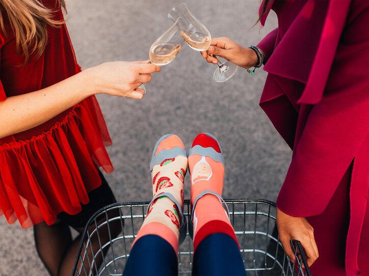 merkloos Good Mood Champagne /& Strawberry Unisex Adult Socks