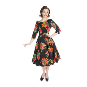 Fekete retró pin up ruha Virágzat