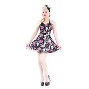 Fekete rövid gótikus ruha Koponyák és rózsák