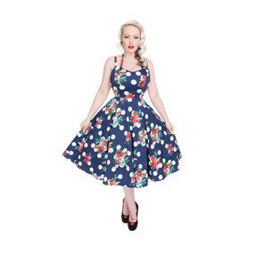 Kék pöttyös retró pin up ruha Piros virágok
