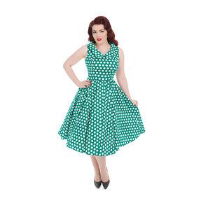 Zelené bodkované retro  pin up šaty