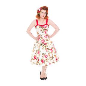 Ivory retró pin up ruha Rózsaszin rózsák