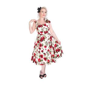 881c716d561 Slonovinové retro pin up šaty Červené růže
