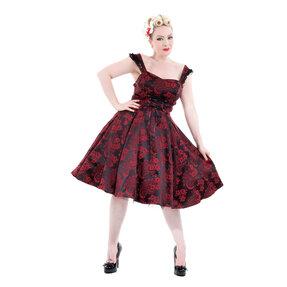 Piros-fekete gótikus retró ruha virágokkal