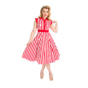 Piros-fehér csíkos retró pin up ruha