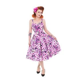 Retró pin up ruha Lila virágok