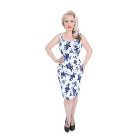 Retro puzdrové šaty Modré ruže