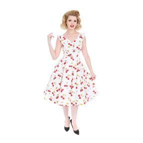 White Retro Pin Up Dress Cherries