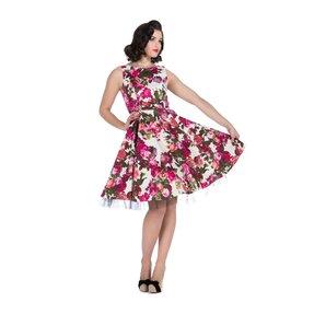 Fehér retró pin up ruha Rózsaszin virágok