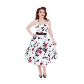 Fehér retró pin up ruha Piros rózsák