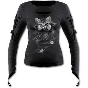 Ladies' Long-sleeved T-shirt with Holes Cat's Claws