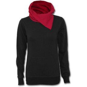 Damen Sweatshirt mit rotem Kragen Schwarz