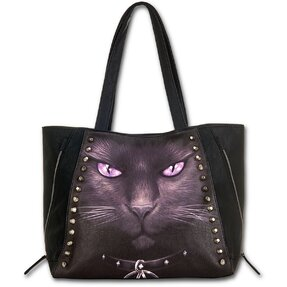 Schultertasche Schwarz Magische Katze