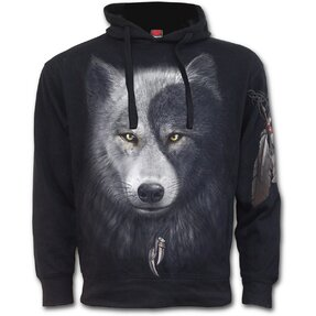 Hoodie with Side Pocket Wolf Face