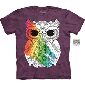 Mandala Colouring T-shirt Owl on Violet Background