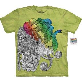 Mandala vybarvovací tričko Hlava slona