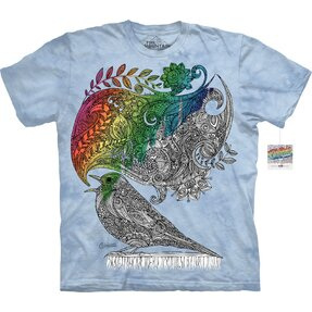 Mandala vybarvovací tričko Zpívající pták