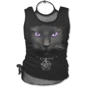 Ladies' Tank Top 2in1 with Design Magical Cat
