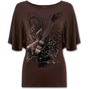Ladies'Ruffle T-shirt Rock Guitar