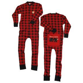Červený károvaný pyžamový overal Medvedie zadočky