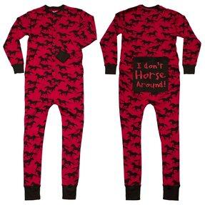 Červený pyžamový overal Cválajúce kone