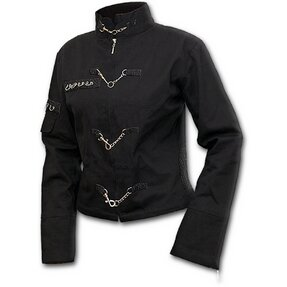 Ladies' Black Jacket with Chain Decoration