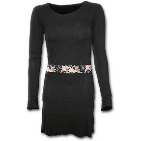 Női fekete hosszú ujjú ruha csipkés kiegészítővel