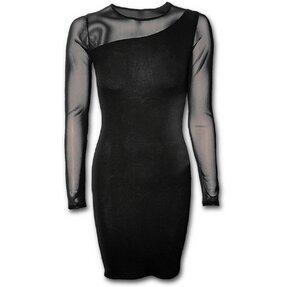 Rövid fekete ruha hálós hosszú ujjakkal