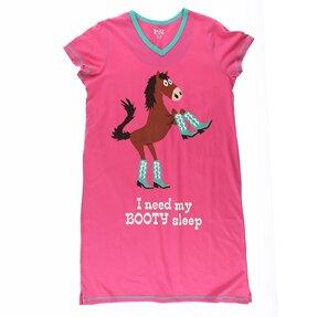 Frauen Nachthemd mit V-Ausschnitt Pferd in Stiefeln