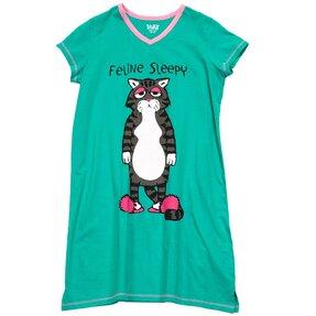 Dámska nočná košeľa s véčkovým výstrihom Mačacia ospalosť