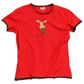 Női piros pizsama póló Csokis jávorszarvas