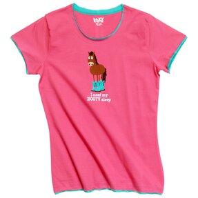 Dámske ružové tričko na spanie Kôň v čižmách
