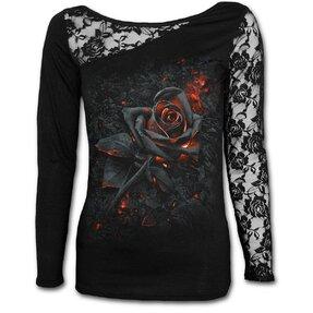 Damen T-Shirt mit Spitze mit dem Motiv Feurige Rose