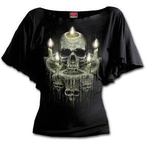 Dámske volánové tričko s motívom Vosková lebka