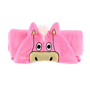 Kids' Hooded Blanket Pink Horse