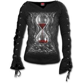 Dámske tričko s viazaním Krvavé presýpacie hodiny