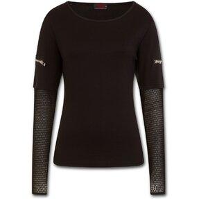 Dámské triko se síťovaným rukávem a zipovou aplikací - černé