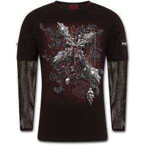 Pánske tričko s dlhým sieťovaným rukávom Kríž temnoty