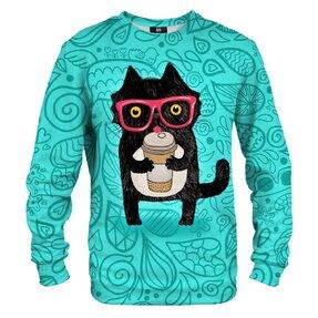 Mikina bez kapuce Kočka s kávou