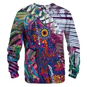 Sweatshirt ohne Kapuze Gemaltes Chamäleon