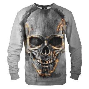 Sweatshirt ohne Kapuze Feuriger Schädel
