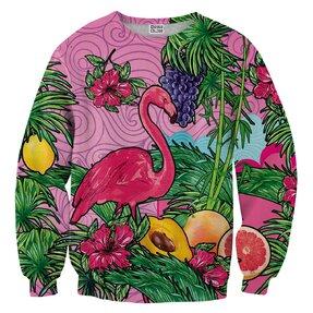 Sweatshirt ohne Kapuze Rosa Flamingo