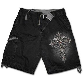 Pánske nohavice - krátke s motívom Gotický kríž