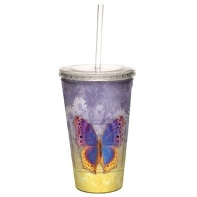 Cup with Straw - Butterfly