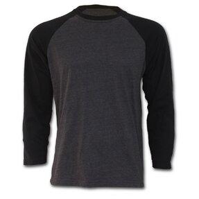 Grauens Männer Langarm T-Shirt mit schwarzen Ärmeln