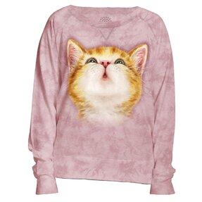 Női rózsaszín pulóver Vörös kismacska