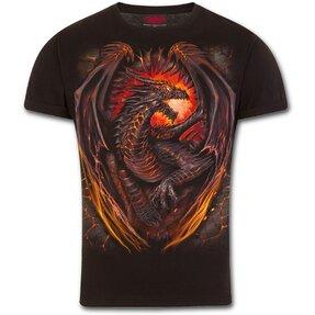 Slim fit póló Őrző sárkány motívummal