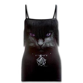 Dámské tílko s třásněmi s motivem Magická kočka