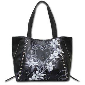Čierna taška na rameno Biele kvety